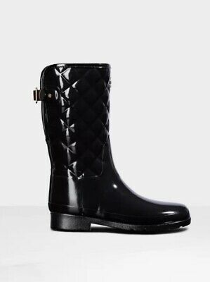 £5 • Buy Hunter Black Refined Gloss Quilted Short Wellington Boots Size 5 EU 38