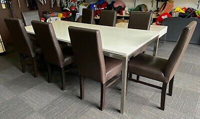 AU200 • Buy Dining Table & Chairs, Brown, Genuine Leather, Set Of 9