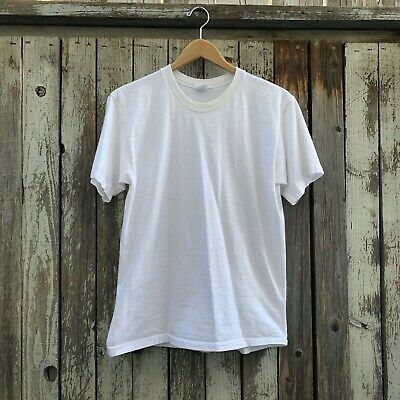$ CDN25.14 • Buy Vintage 70s JCPenny Solid Blank White Men's T-Shirt 100% Cotton Made In USA