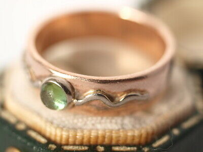 £120 • Buy 9ct Rose Gold 5.6mm Wide Cabochon Peridot Ring Wedding Band Size  N   4.50 Grams