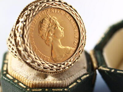 £400 • Buy 9ct & 22ct Yellow Gold Half Sovereign 1982 Signet Ring Size N-N1/2 8.60 Grams