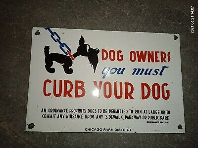 $ CDN1.25 • Buy Porcelain Curb Your Dog Enamel Sign Size 9  X 6  Inches