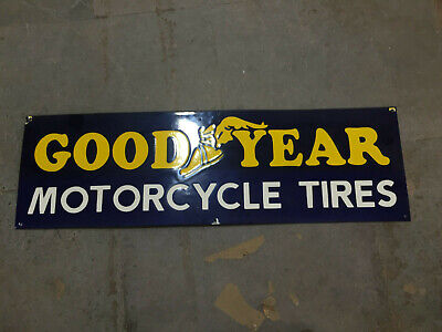 $ CDN5.35 • Buy Porcelain Goodyear Motorcycle Tires Enamel Sign Size 11  X 36  Inches