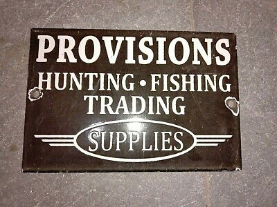 $ CDN1.25 • Buy Porcelain Provisions Enamel Sign Size 6  X 4  Inches
