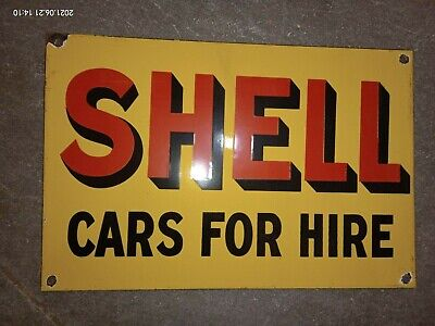 $ CDN1.25 • Buy Porcelain Shell Cars For Hire Enamel Sign SIZE 12  X 8  Inches