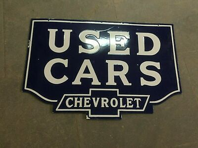 $ CDN1.25 • Buy Porcelain Chevrolet Used Cars Enamel Sign 30  X 20  Inches Double Sided