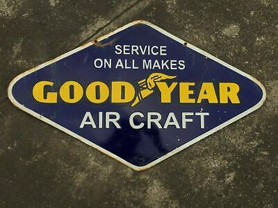 $ CDN1.25 • Buy Porcelain Goodyear Aircraft Enamel Sign Size 18  X 30  Inches Double Sided