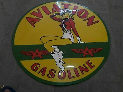 $ CDN1.31 • Buy Porcelain Aviation Gasoline Enamel Sign Size 30  Inches Double Sided