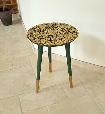 £50 • Buy Carved Indian Wooden Side Table Hand Painted With Annie Sloan Chalk Paint & Gold