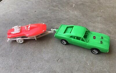 $99.50 • Buy Vintage 1969 Ford Mustang Mach 1 Green 1:24  Processed Plastic Car W/ Boat Rare