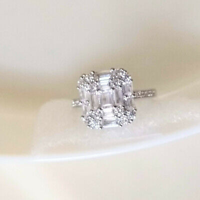 $ CDN33.99 • Buy QVC Diamonique Epiphany Platinum Clad Baguette And Rounds Cluster Ring - Size 9