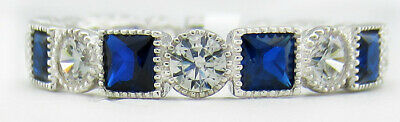 £0.72 • Buy GEMSTONES BLUE & WHITE SAPPHIRE ETERNITY RING .925 Silver * NWT * Size 7
