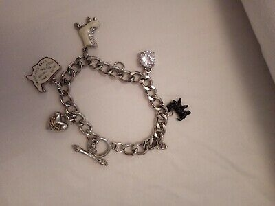 £3.50 • Buy Genuine Juicy Couture Silver Plated Charm Bracelet With 5 Charms Exc Condition