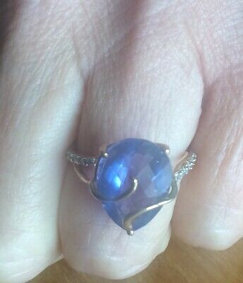 £95 • Buy New! Colour Change Fluorite & White Zircon 9ct Gold Ring Gems TV Limited Edition