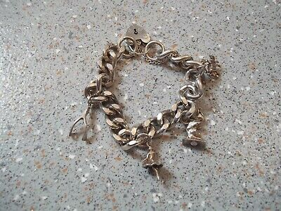 £49.99 • Buy Vintage Silver Charm Bracelet And Charms ~ Very Heavy ~ 60 Grams