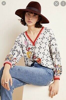 $ CDN81.83 • Buy ANTHROPOLOGIE - VINEET BAHL Devi Embroidered Floral Blouse Top Size XL