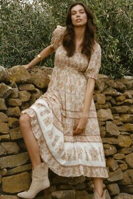 AU359.19 • Buy Spell And The Gypsy Collective Juniper Shirred Dress In Cream XL Bnwt