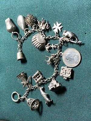 £58 • Buy Vintage Silver Charm Bracelet Antique & Vintage Charms / Whistle / Creel / Shell