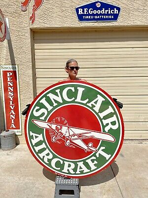 """$ CDN2014.16 • Buy Large 48"""" Sinclair Aircraft Porcelain  Service Double Sided Sign"""