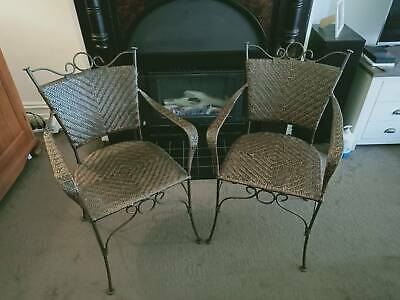 AU81 • Buy Wicker Dining Chairs (2) - Rot Iron Frame And Feet - With Arm Rests