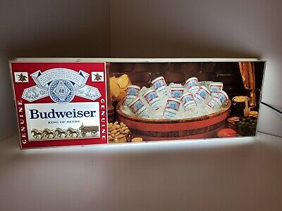 """$ CDN503.53 • Buy 1970's Vintage Budweiser Wagon & Clydesdales Beer Cans Sign Light 30""""x11 - Rare"""