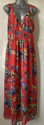 £4.75 • Buy Dorothy Perkins Red Long Floral Print Maxi Dress Size 18