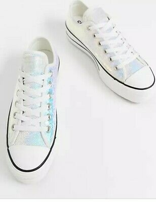 £55 • Buy Converse All Star Lift Hollographic Sequin Trainers Size 4 New