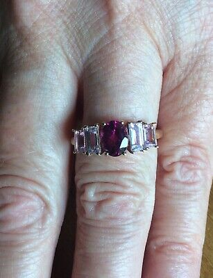 £150 • Buy NEW! Idar Rubellite & Imperial Pink Topaz 9ct Gold Ring Gems TV Limited Edition