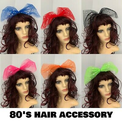 £4.99 • Buy 80s Fancy Dress 1980s Accessories 6 Colours Hair Bow Large Sequin Hair Bow