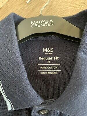 £9 • Buy Mens Cotton Polo Shirt - Size M - Navy By Marks & Spencer