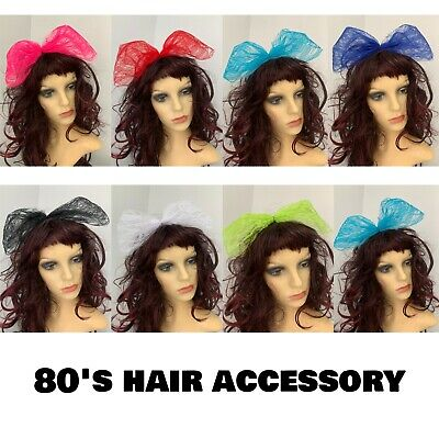 £4.99 • Buy 80s Fancy Dress 1980s Accessories 8 Colours Hair Bow Large Lace Hair Bow