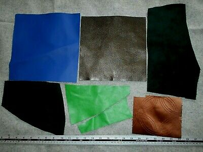 £3.95 • Buy  Mixed  Real Faux Leather Suede Brown Blue Green Fabric Offcuts Remnant