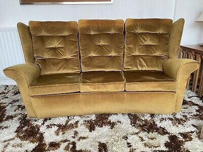 £15 • Buy 1980's Vintage 3 Piece Suite Gold Fabric 3- Seat Sofa And Two Chairs.  All Good.