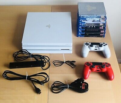 AU326.99 • Buy PS4 Pro White Edition Bundle 1 TB With 7 Games 2 Controllers & Cables & Camera