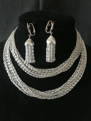 $7.49 • Buy Sarah Coventry Demi ~ 2 Necklaces & Earring Set ~  Silvery Cascade  ~ 1960