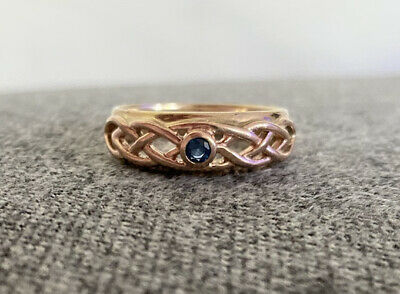 £101 • Buy Clogau Welsh 9ct Yellow Rose Gold Sapphire Celtic Lovers Weave Ring W