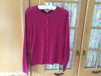 £19.99 • Buy L K Bennett Cardigan Size L (14/16) In Pink In Wool With Lace Back VG Condition.