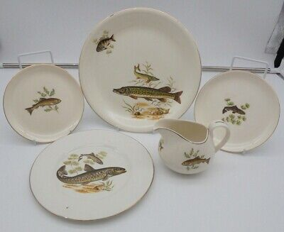 £12.99 • Buy Bundle Of Ridgway Pottery Tableware X5 Fish Themed Prints Plates, Dishes, Jug