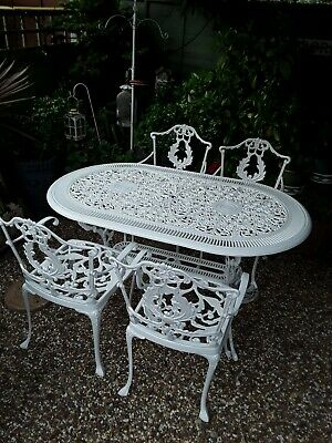 £575 • Buy  NEW Vintage Style Large Cast Metal Garden Table And 4 Carver Chairs Cost £1800