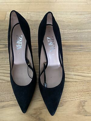 £9.95 • Buy ZARA Black Suede Stilletoe Court Shoes With Pewter Colour Heel Size 39 (6) BNWT