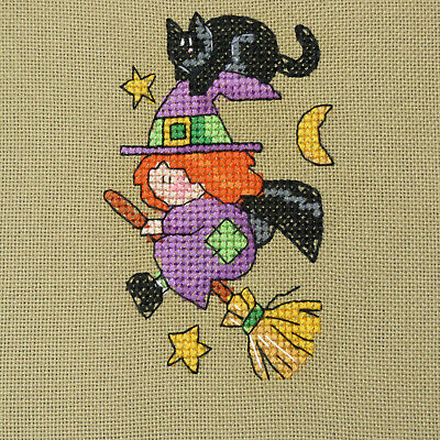 £4.33 • Buy Completed Finished  Flying Witch  & Black Cat Halloween Cross Stitch Piece