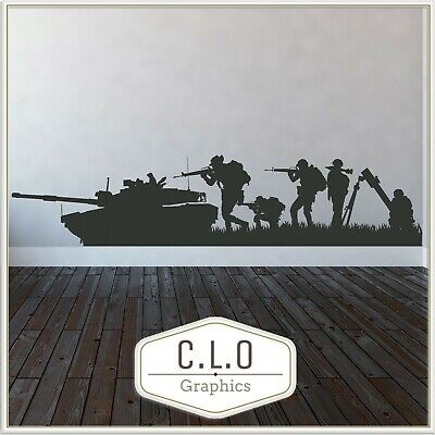 £10.99 • Buy Boys Army Wall Sticker Vinyl Transfer Military Decor Decal Giant Graphic Mural