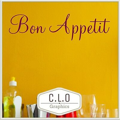 £6.99 • Buy Large Bon Appetit Kitchen Quote Wall Sticker Vinyl Transfer Dining Room Decal UK