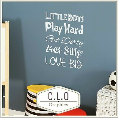 £9.99 • Buy Boy Wall Sticker Vinyl Quote Transfer Decor Decal Art Bedroom Graphic Cute Mural