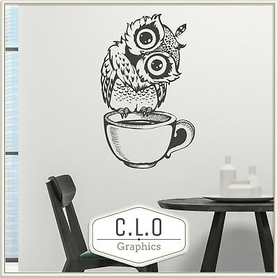 £13.99 • Buy Coffee Cup Wall Sticker Vinyl Tranfer Interior Art Decal Cute Owl Graphic Mural