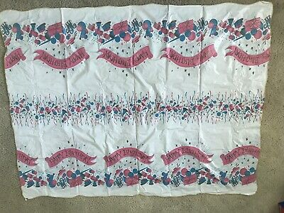 $ CDN56.64 • Buy Vintage Reversible Two Sided Vinyl Tablecloth Birthday Christmas Kitchen Party