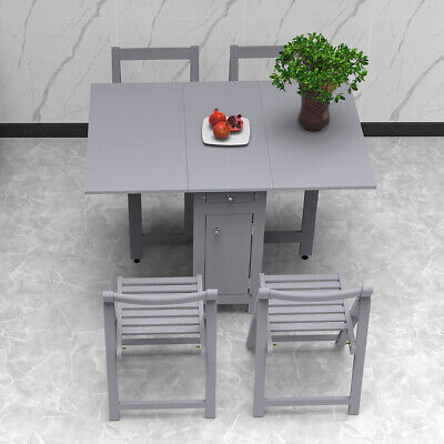 AU405.99 • Buy Table And 4 Chairs Wooden Folding Dining Set Extending Space Saving Small