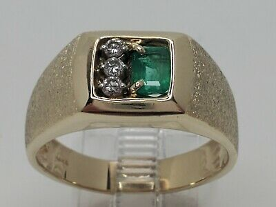 $599.99 • Buy Mens 14k Solid Yellow Gold .69tcw Natural Emerald & Diamond Ring Size 10.5