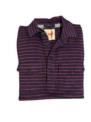 $125 • Buy Relwen Mens Pull Over Button Down Long Sleeve Blue & Red Stripe Sweater Sz L