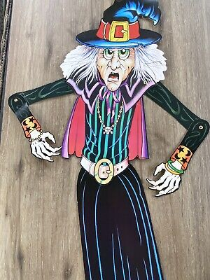 """$ CDN18.82 • Buy Vintage 1988 BEISTLE Halloween Witch Die Cut Jointed Hinged 40"""" Paper Decoration"""